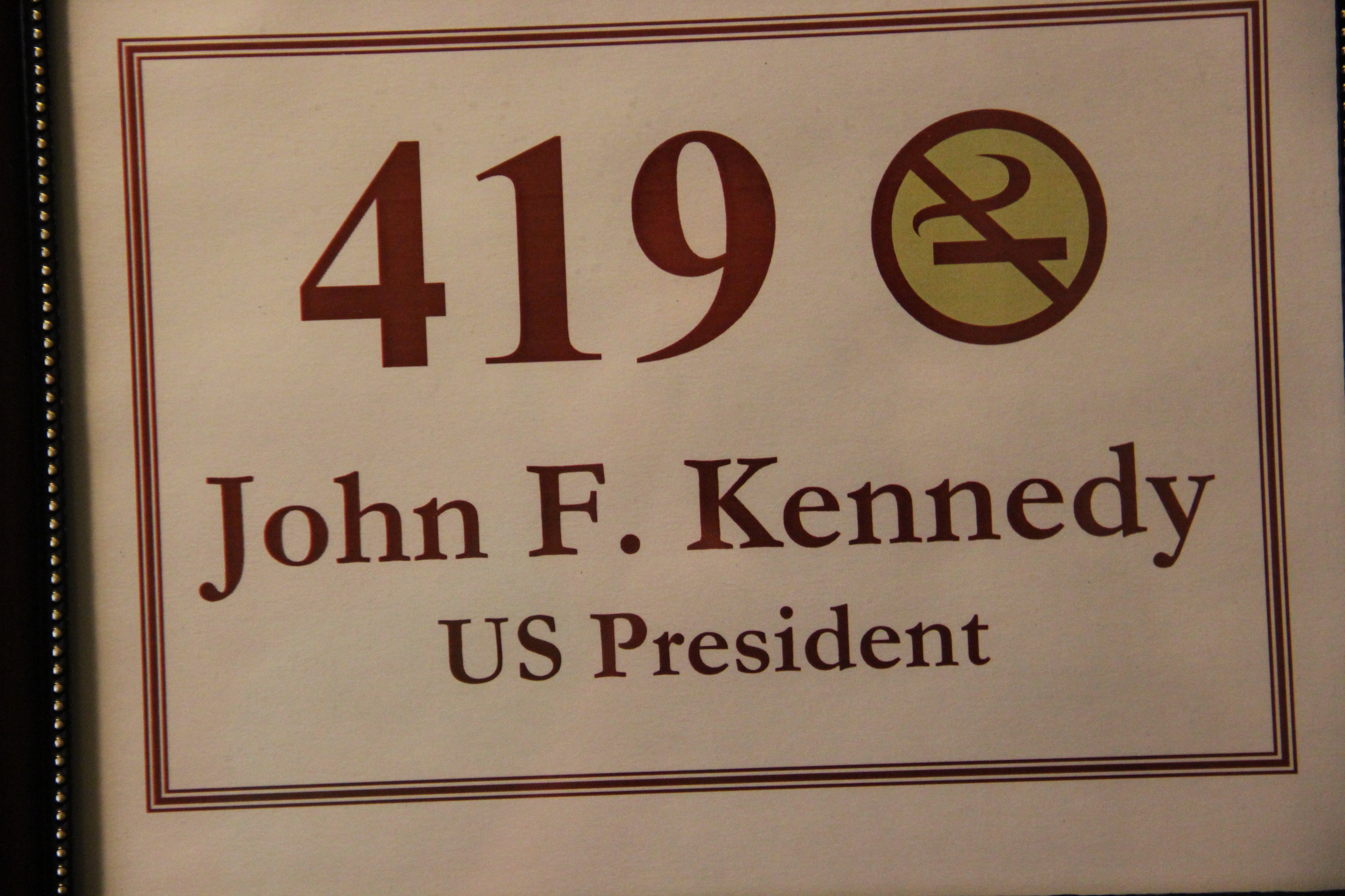 Room 419 - Room JFK spent the night in while campaigning for the Democratic Primary in West Virignia