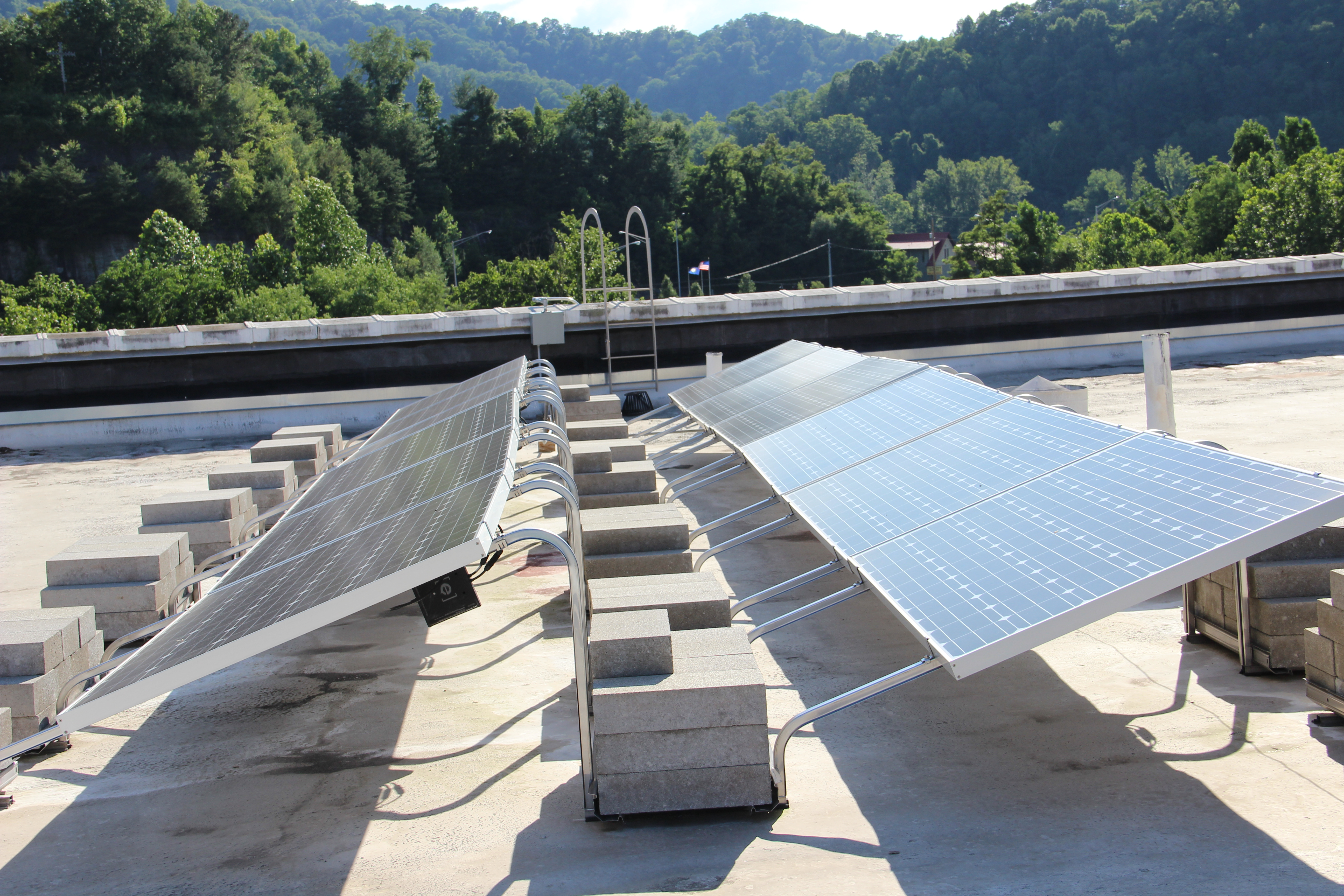 Solar powers atop the roof of the Historic Mountaineer Hotel.