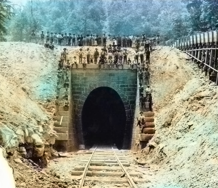 Construction of Dingess Tunnel, 1892