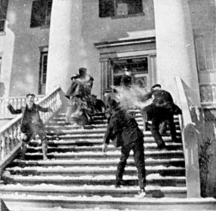 Snowball fight on the steps of the FL capitol