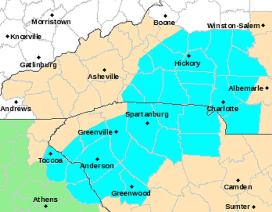 National Weather Service Map: Blue Freeze Watch
