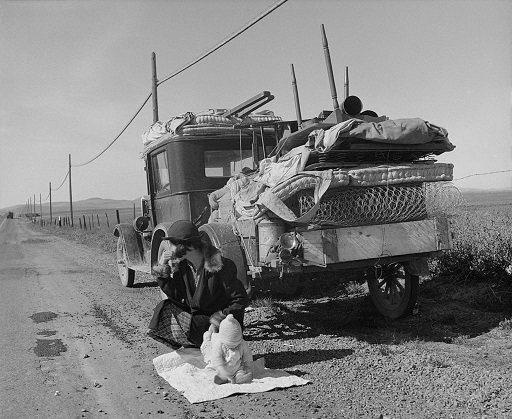 """Broke, baby sick, and car trouble!"" - Dorothea Lange's 1937 photo of a Missouri migrant family's jalopy stuck near Tracy, California."