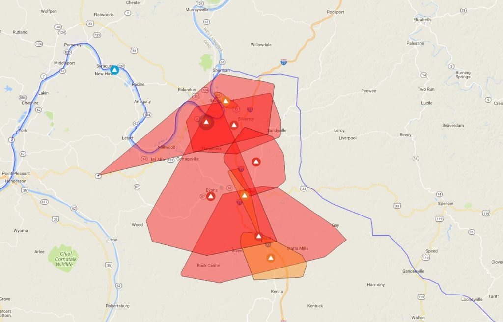 Map of affected area as of 8:57 a.m.