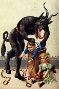 A 1900s greeting card reading 'Greetings from Krampus!'