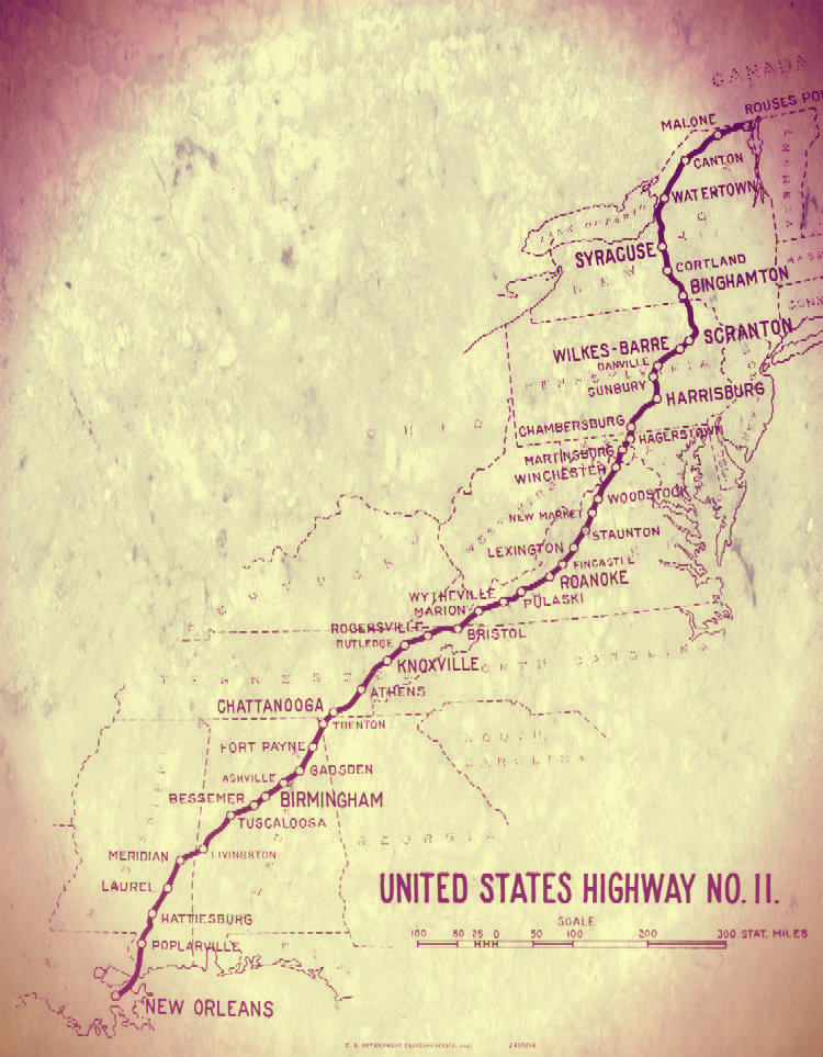 MAP: Early map of US Route 11