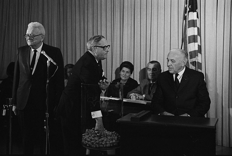 PHOTO: Congressman Alexander Pirnie (R-NY) drawing the first capsule for the Selective Service draft, Dec 1, 1969. Photo credit: Selective Service System