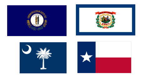 Flags: Top L to R - Kentucky, West Virginia Bottom L to R - South Carolina, Texas