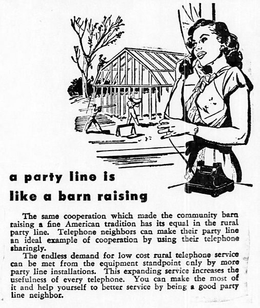 Newspaper advertisement from 1948 advising party line subscribers to be courteous about their shared telephone line.