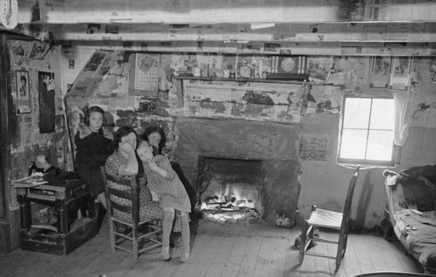 Interior of mountain farmhouse, Appalachian Mountains near Marshall, North Carolina, in March 1936. United States Resettlement Administration, Mydans, Carl, photographer.