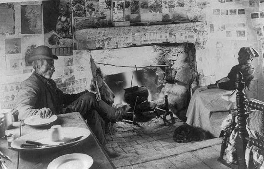 Photograph shows the inside of a small cabin where an African-American couple sits on opposite sides of the room; the walls are covered with newspapers and posters; a dog is asleep at the woman's feet. Photo taken by Cook, Geo. S, photographer. Retrieved from the Library of Congress.