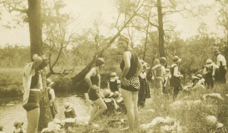 Schoolgirls swimming at Bondoola Creek, ca 1929