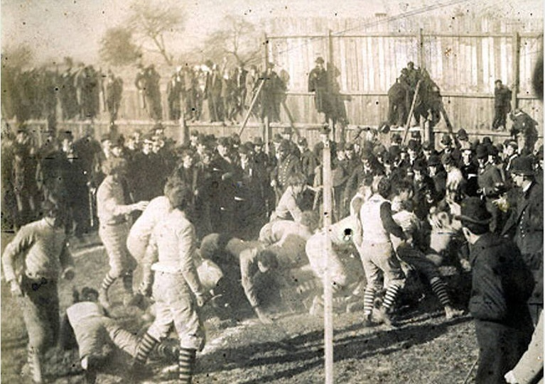 Photo: Nov. 29, 1894, VMI v. Virginia Tech football game. The game The two schools first met in 1894 and played annually from 1913 to 1971, usually in Roanoke on Thanksgiving Day.