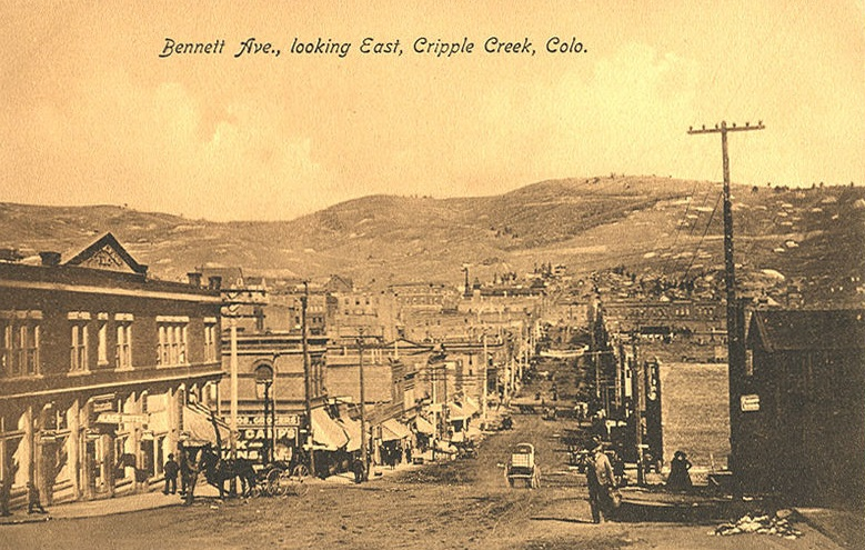 Postcard picture of Bennett Avenue, looking east in Cripple Creek, Colorado. ca. 1900s/1910s