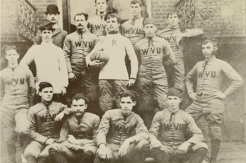 The first West Virginia football team, photographed in 1891
